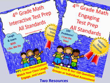 BUNDLE 4th Grade Math Interactive Test Prep: All 34 Standards