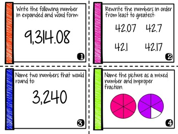 BUNDLE! 4th Grade Math Test Prep Task Cards