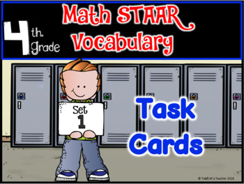 BUNDLE: 4th Grade STAAR MATH Vocabulary Task Cards ~ Sets 1-4