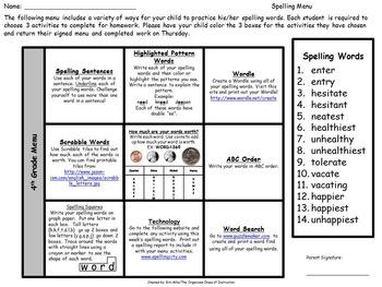 BUNDLE-4th Grade Spelling Menus/Choice Boards!!