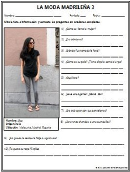 Spanish 1 - Moda Madrilena BUNDLE! 5 Worksheets - Original Photos and Questions