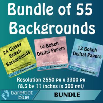 BUNDLE (55) of Bokeh Backgrounds/Digital Papers/Printables