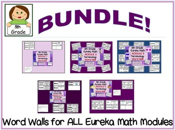 BUNDLE 5th Grade Eureka Math Word Wall With Definitions for ALL Modules