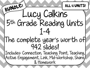 BUNDLE! 5th Grade Lucy Calkins Reading Units 1-4 Powerpoint ENTIRE YEAR PLANS!