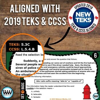 BUNDLE 5th Grade Root Words & Affixes Task Cards Sets 1 New ELAR TEKS