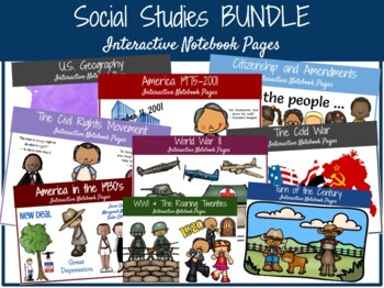 BUNDLE:  5th Grade S.S. Interactive Notebook Pages **EDITABLE**