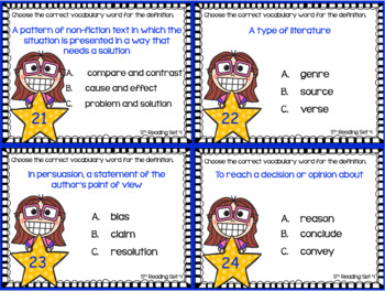 BUNDLE: 5th Grade STAAR Reading Vocabulary Task Cards ~ Sets 1-4