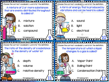 BUNDLE: 5th Grade STAAR SCIENCE Vocabulary Task Cards ~ Sets 1-6