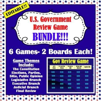 BUNDLE: 6 U.S. Government Review Games