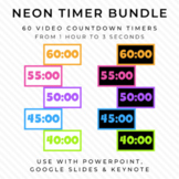 BUNDLE - 60 NEON Video Countdown Timers - For PowerPoint,