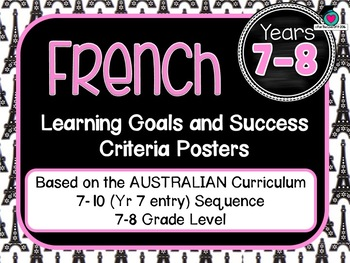 BUNDLE! 7-10 Entry FRENCH  AuCurric Learning Goals & Success Criteria Posters.