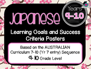 BUNDLE! 7-10 Entry JAPANESE  AuCurric Learning Goals & Success Criteria Posters.