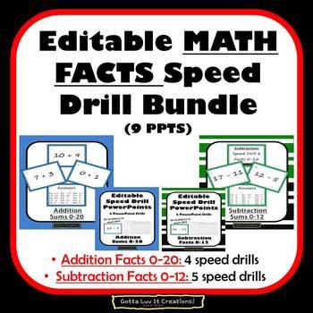 Editable Math Facts Addition & Subtraction Fluency