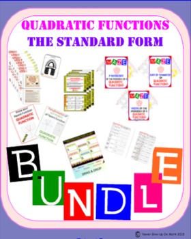 BUNDLE (10 products) - Standard Form of Quadratic Function