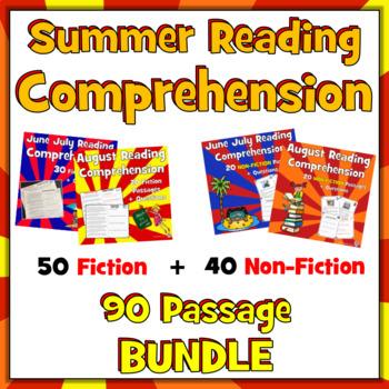 90 Summer Reading Comprehension Passages: 50 Fiction + 40 Non-Fiction BUNDLE