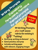 BUNDLE! 99 Writing Prompts: Expository, Persuasive & Narrative, Grades 4-6
