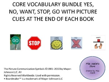 BUNDLE ADAPTED CORE VOCABULARY BOOKS: YES, NO, WANT, GO AND STOP
