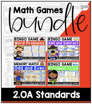 2.OA1, 2.OA.2. 2.OA.3, 2.OA.4 - Math Games Bundle