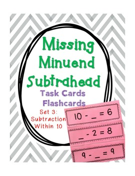 {BUNDLE: ALL 4 SETS} - Missing Addend, Minuend, and Subtrahend Cards (within 20)
