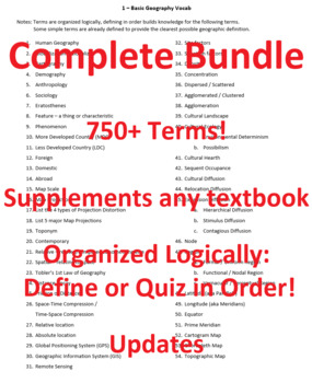 BUNDLE AND SAVE! 2018 AP Human Geography Ultimate Vocab Lists (All Units)