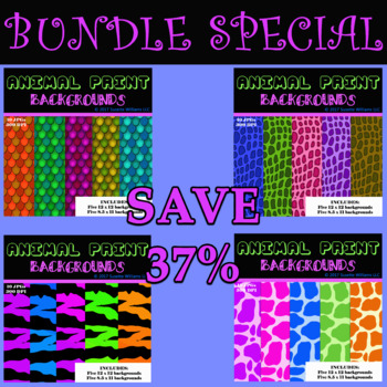 BUNDLE: ANIMAL PRINT BACKGROUNDS (Fish Scales, Alligator, Giraffe, and Tiger)