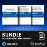 BUNDLE - Acceleration Word Problem Worksheets (X3) - Dista