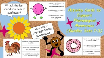 BUNDLE Activity Cards to Support Phonological Awareness fo