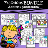 BUNDLE! Adding and Subtracting Fractions Color by Number Worksheets