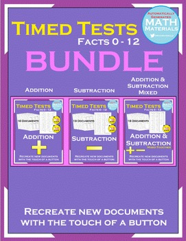 BUNDLE! Addition & Subtraction Facts (0-12) - Automatic Generator