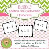 BUNDLE: Addition & Subtraction Flashcards - Within 5 & Within 10