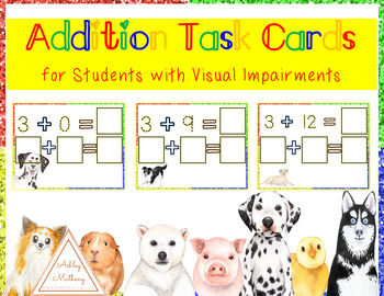 BUNDLE Addition and Subtraction Task Cards for Students with Visual Impairment