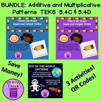 BUNDLE Additive and Multiplicative Patterns 3 activities TEKS 5.4C 5.4D