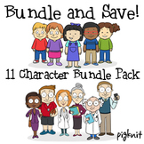 BUNDLE -- Adults and Students Clip Art Pack   6 Professional Adults & 5 Kids