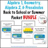 BUNDLE: Algebra 1, Geometry, Algebra 2, & Precal Back to School or Summer Packet