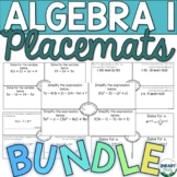 BUNDLE- Algebra 1 Placemats Activity (DIGITAL + PRINTABLE)