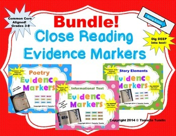 BUNDLE! All 3 Sets of Interactive Evidence Markers! CCSS (Grades 3-8)