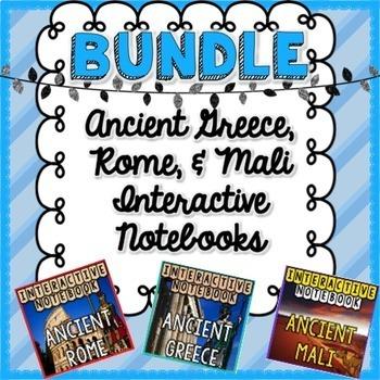BUNDLE Ancient Greece, Mali, & Rome Interactive Notebook