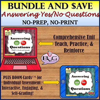 BUNDLE Answering Yes/No Questions Foods and Animals Plus BOOM CARDS