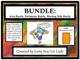 BUNDLE: Area, Perimeter, and Missing Side Battle! Games