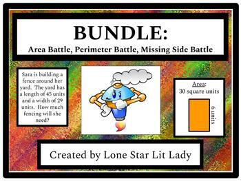BUNDLE: Area, Perimeter, and Missing Side Battle! Games