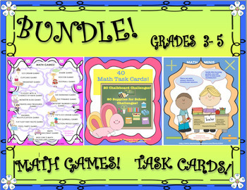BUNDLE! BACK TO SCHOOL! MATH GAMES AND TASK CARDS!  GRADES 3 -6
