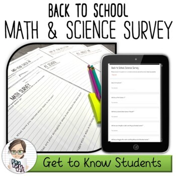 BUNDLE Back to School Math & Science Survey BONUS Mid & End of Year Check-In