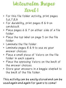 Watermelon Basic Skills File Folder Activities BUNDLE