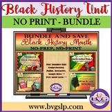BUNDLE Black History Month Unit PLUS Boom Cards Digital - Teletherapy