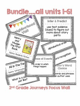 BUNDLE! Black and White Chevron Journeys 2017 Grade 2 Focus Wall Posters