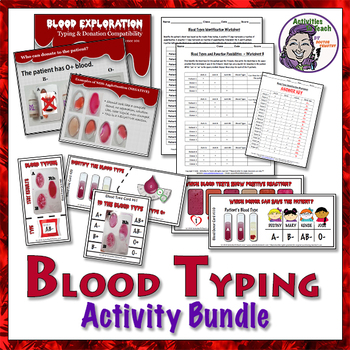 BUNDLE: Blood Typing 93 Task Cards, 3 Worksheet Packet, & PowerPoint Lesson