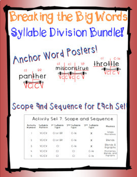 RED BUNDLE/Vol 1:  Breaking the Big Words: Syllable Division Sets 1-7 (VC/CV)