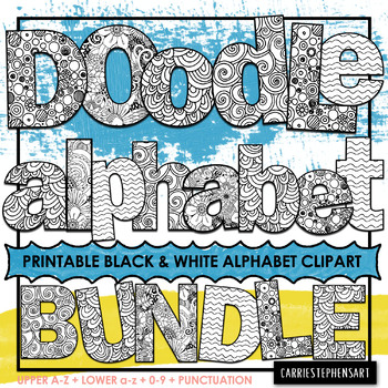 photograph about Printable Letters for Bulletin Boards named Developing Package deal - Bulletin Board Alphabet Doodles, Printable Letters for Coloring