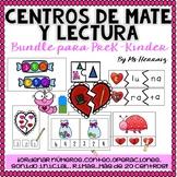 BUNDLE CENTROS San Valentín prek&Kinder!Matemáticas, números, letras,lectura...