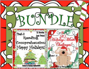 BUNDLE CHRISTMAS reading comprehension passages and questions +  Math